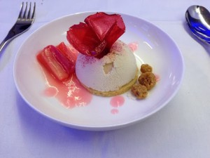 Rhubarb and raspberry dome with rhubarb compote