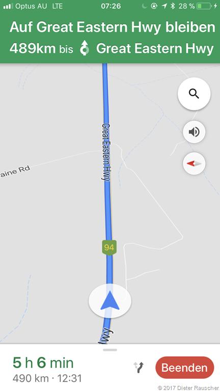 489km geradeaus